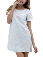 Summer Cotton Sleepshirts Knitted Lace Nightgown Sleepwear