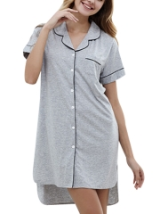 Boyfriend Sleepshirt Nightgown Short Sleeve Cotton Sleepwear