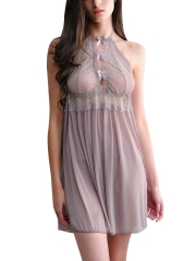 See Through Lace Halter Nightwear Babydolls Lingerie Sets