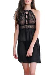 See Through Lace Halter Nightwear Babydolls Lingerie Sets