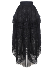Black Victorian Gothic Elastic Maxi Lace Steampunk Skirts