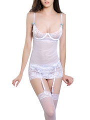 White Sexy Mesh Lace Babydoll Underwire Bridal Lingerie Set