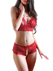 Women Cupless Crotchless Lace Bra and Panty Set Lingerie