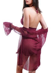 Two Piece See Through Lace Babydolls Dress Robes Lingerie