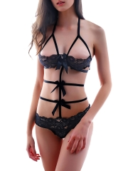 Sheer Strappy Open Cup Lace Bra and Panty Sets Lingerie