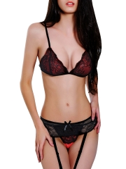 Black Women 2 Piece Lace Bra Sets Lingerie with G String