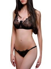 Women See Through Sheer Lace Underwear Bra Set Lingerie