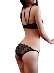 Women See Through Sheer Lace Underwear Bra Set Lingerie