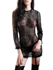 Black Long Sleeve Lace Chemises Backless Bodydolls Lingerie