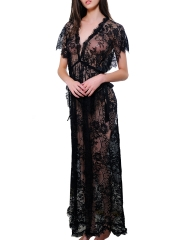 Short Sleeve Deep V Long Gowns Lace Maxi Babydolls Lingerie