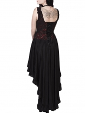 Red Gothic Steampunk Dobby Overbust Corsets Tops With Straps