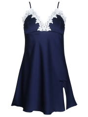 Deep V Lace Trim Nightdress Satin Nightgowns Sleepwear