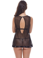 Black Lace Babydolls Dress Lingerie Set Chemise Nightwear