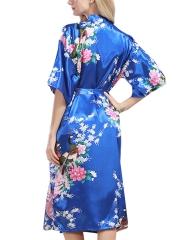 Floral Print Kimono Short Sleeve Satin Robes For Women