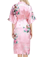 Floral Print Kimono Short Sleeve Satin Robes For Women