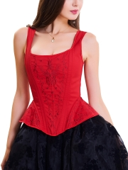 Vintage Steampunk Corsets Jacquard Bustier Tops With Straps