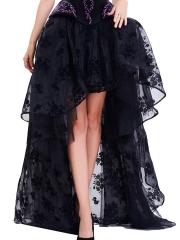 Black Vintage Floral Print High Low Steampunk Maxi Skirts