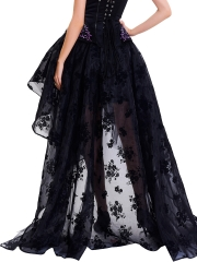 Black Vintage Floral Print High Low Steampunk Maxi Skirts