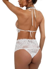 Women Transparent Lace Halter Bra and Panty Sets Lingerie
