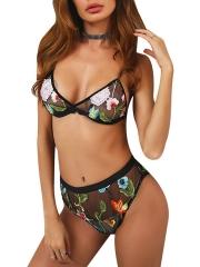 Women Transparent Floral Print Underwear Bra Lingerie Sets