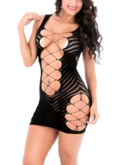 Women Sexy Lingerie Fishnet Hollow Out Mini Babydolls Dress
