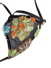 Womens Transparent Lingerie Embroidery Floral Bra Sets