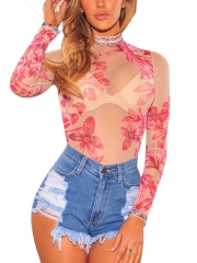 Womens Floral Print Bodysuits Lingerie Transparent Teddies