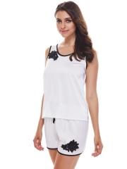 Womens Sleepwear Satin Camisole Embroidery Pajamas Sets