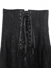 Gothic Steampunk Lace Up Overbust Corset Dress With Zipper