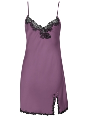 Sexy Womens V Neck Sleepwear Satin Lace Chemise Nightgown