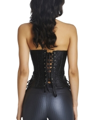 Black Retro Halter Jacquard Overbust Steampunk Corsets Tops