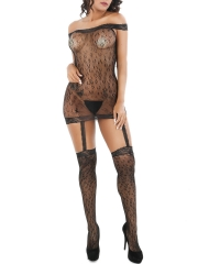 Off Shoulder Fishnet Babydoll Lingerie With Garter Stockings