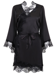 Women Long Sleeve Satin Kimono Lace Robes Sleepwear