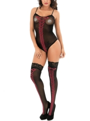 Fishnet Bodysuit Bandage Teddies Lingerie With Lace Stocking