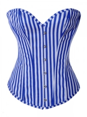 Vertical Stripes Denim Women Fashion Corset