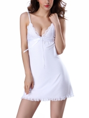 Women Sleeveless Lace Nightdress Cotton Nightgowns Sleepwear