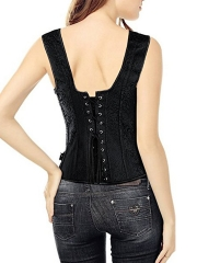 Gothic Steampunk Jacquard Overbust Corset Vest with Buckles