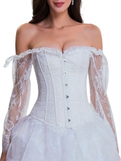 Vintage Brocade Floral Lace Overbust Corset Bustier Tops