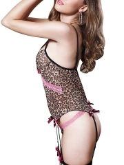 Sexy Women Strappy Leopard Teddies Lingerie With G-string