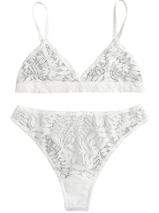 White Sexy Floral Sheer Lace Triangle Bra Sets Lingerie
