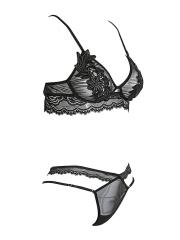 Women See Through Strappy Lace Underwear Bra Sets Lingerie