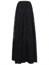 Women Elastic Waist Floral Lace Steampunk Maxi Skirts