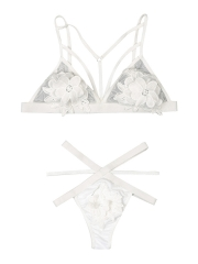 See Through Embroidery Floral Strappy Bra Sets Lingerie