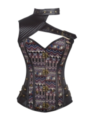 Gothic Women Steampunk Brocade Steel Boned Corset Tops