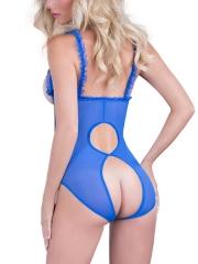 Women Plus Size One Piece Open Bust Lace Teddies Lingerie