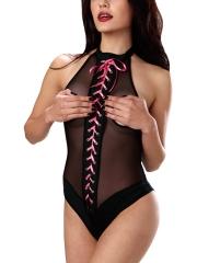 One Piece Ribbon Mesh Teddies Lingerie Open Bust Bodysuit