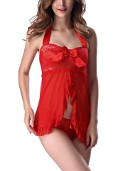 Women Mesh Lace Babydolls Lingerie Halter Chemise With Bow