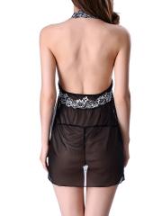 Women Lace Chemise Babydoll Halter Nightwear Lingerie Set