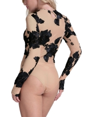 Long Sleeve Embroidery Bodysuit Teddies Lingerie For Women