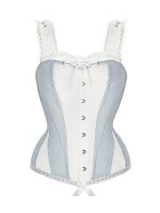 Plus Size 10 Steel Boned Bustier Lace Straps Corset Tops